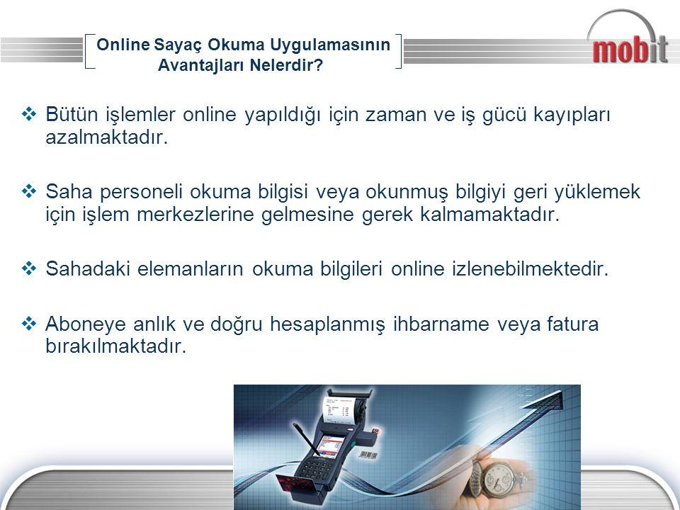 Online Sayaç Okuma Uygulamasının Avantajları Nelerdir?  Bütün işlemler online yapıldığı için zaman ve iş gücü kayıpları azalmaktadır.  Saha personel