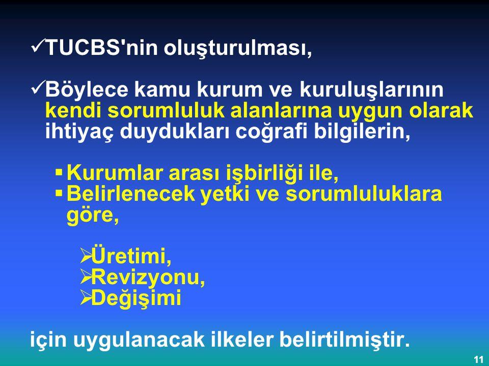 11 TUCBS'nin oluşturulması, Böylece kamu kurum ve kuruluşlarının kendi sorumluluk alanlarına uygun olarak ihtiyaç duydukları coğrafi bilgilerin,  Kur