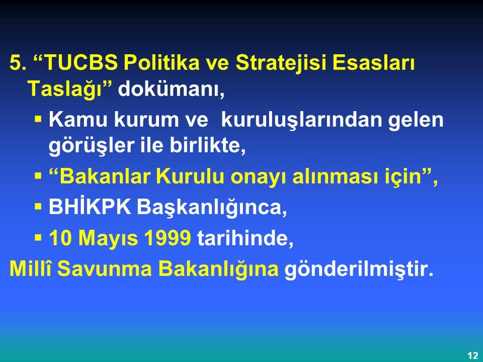 """12 5. """"TUCBS Politika ve Stratejisi Esasları Taslağı"""" dokümanı,  Kamu kurum ve kuruluşlarından gelen görüşler ile birlikte,  """"Bakanlar Kurulu onayı"""
