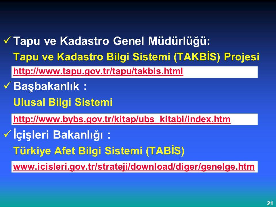 21 Tapu ve Kadastro Genel Müdürlüğü: Tapu ve Kadastro Bilgi Sistemi (TAKBİS) Projesi http://www.tapu.gov.tr/tapu/takbis.html Başbakanlık : Ulusal Bilg