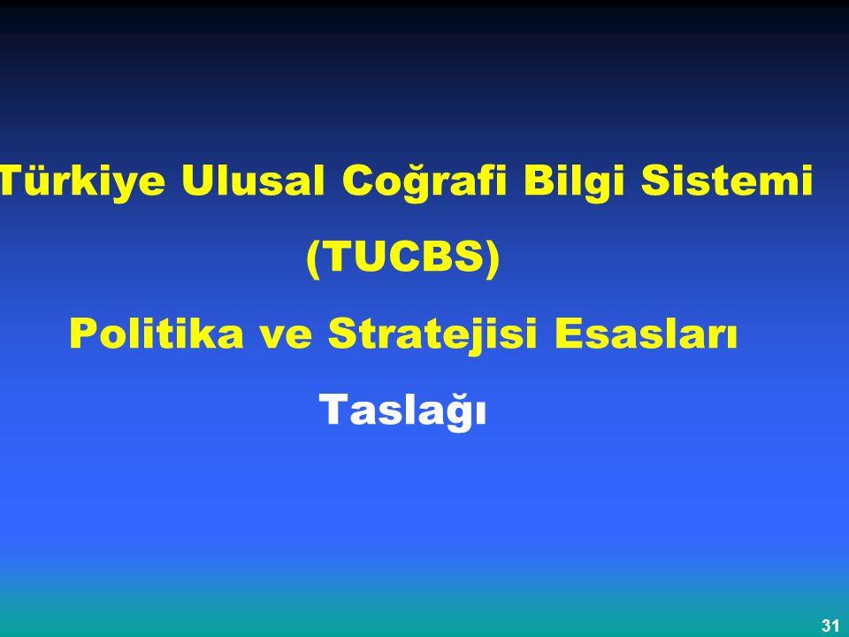 31 Türkiye Ulusal Coğrafi Bilgi Sistemi (TUCBS) Politika ve Stratejisi Esasları Taslağı