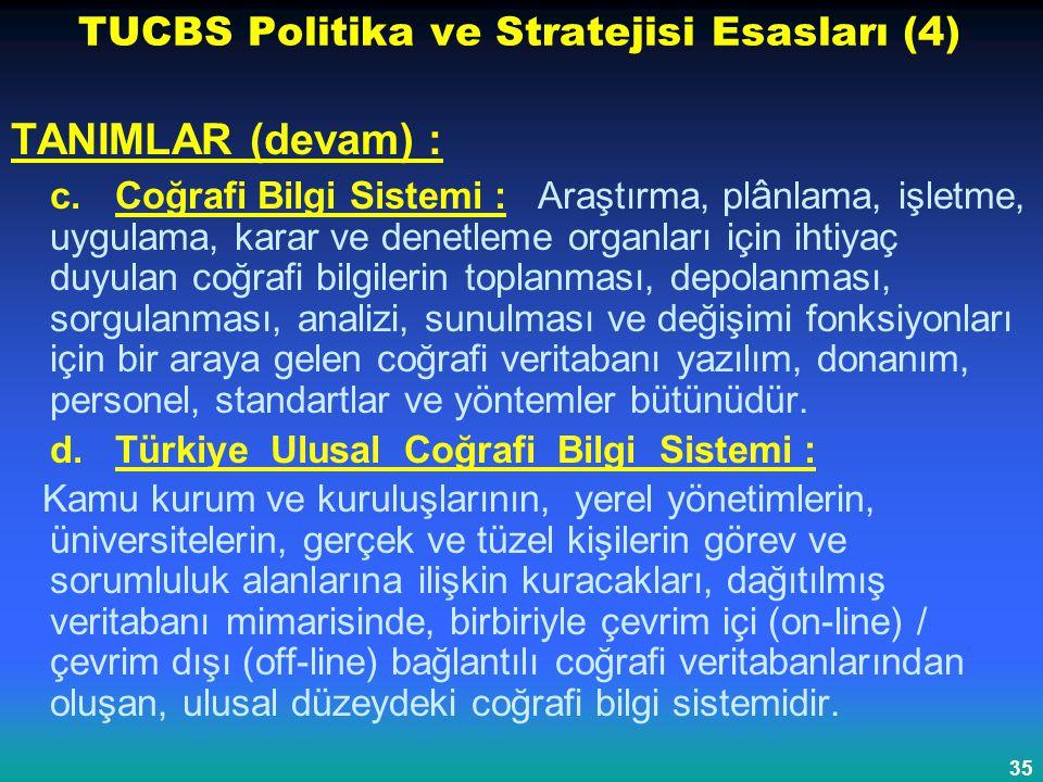 35 TUCBS Politika ve Stratejisi Esasları (4) TANIMLAR (devam) : c. Coğrafi Bilgi Sistemi : Araştırma, pl â nlama, işletme, uygulama, karar ve denetlem