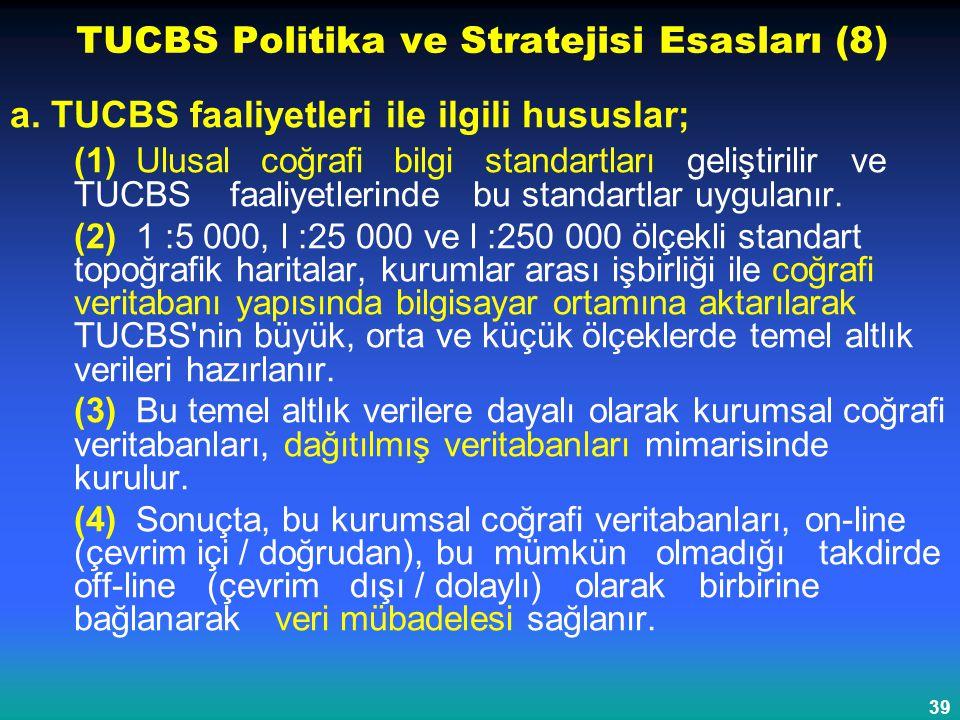 39 TUCBS Politika ve Stratejisi Esasları (8) a. TUCBS faaliyetleri ile ilgili hususlar; (1) Ulusal coğrafi bilgi standartları geliştirilir ve TUCBS fa