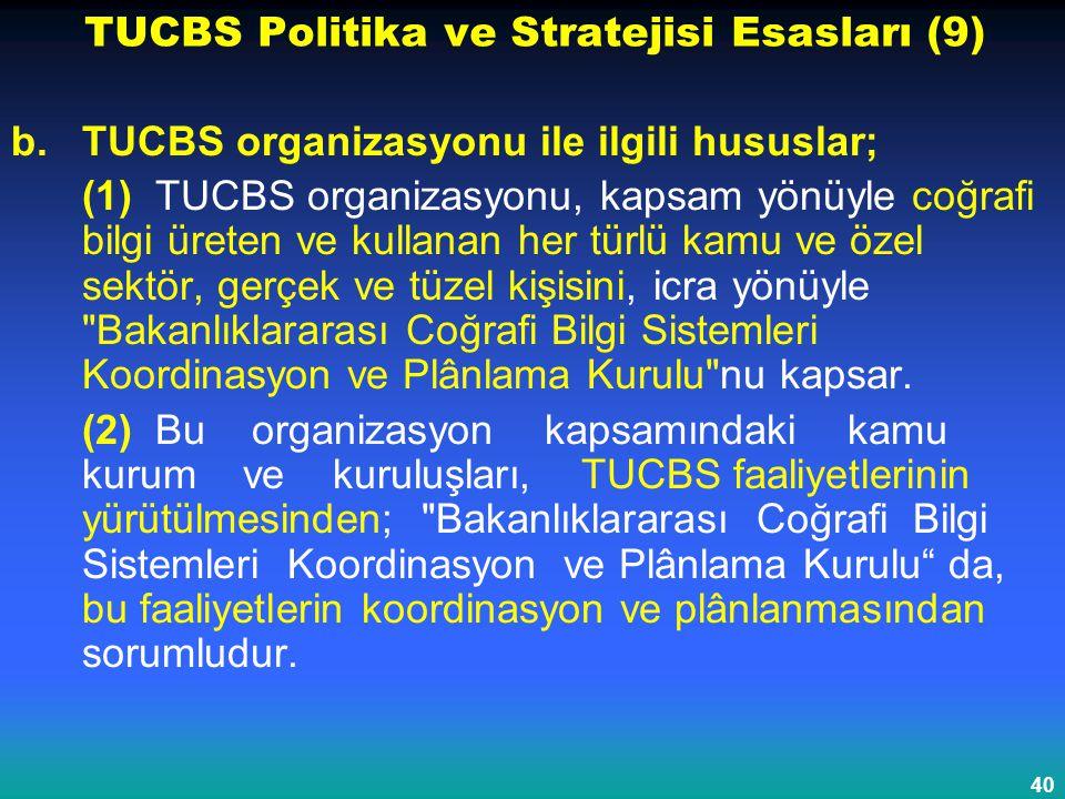 40 TUCBS Politika ve Stratejisi Esasları (9) b.TUCBS organizasyonu ile ilgili hususlar; (1) TUCBS organizasyonu, kapsam yönüyle coğrafi bilgi üreten v