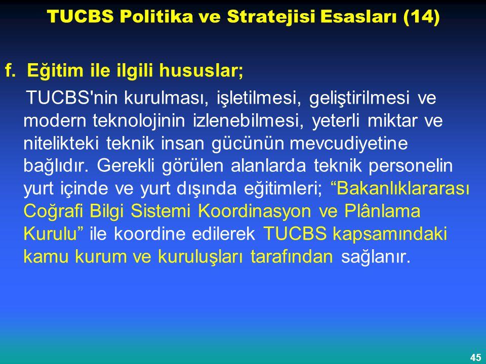 45 TUCBS Politika ve Stratejisi Esasları (14) f. Eğitim ile ilgili hususlar; TUCBS'nin kurulması, işletilmesi, geliştirilmesi ve modern teknolojinin i