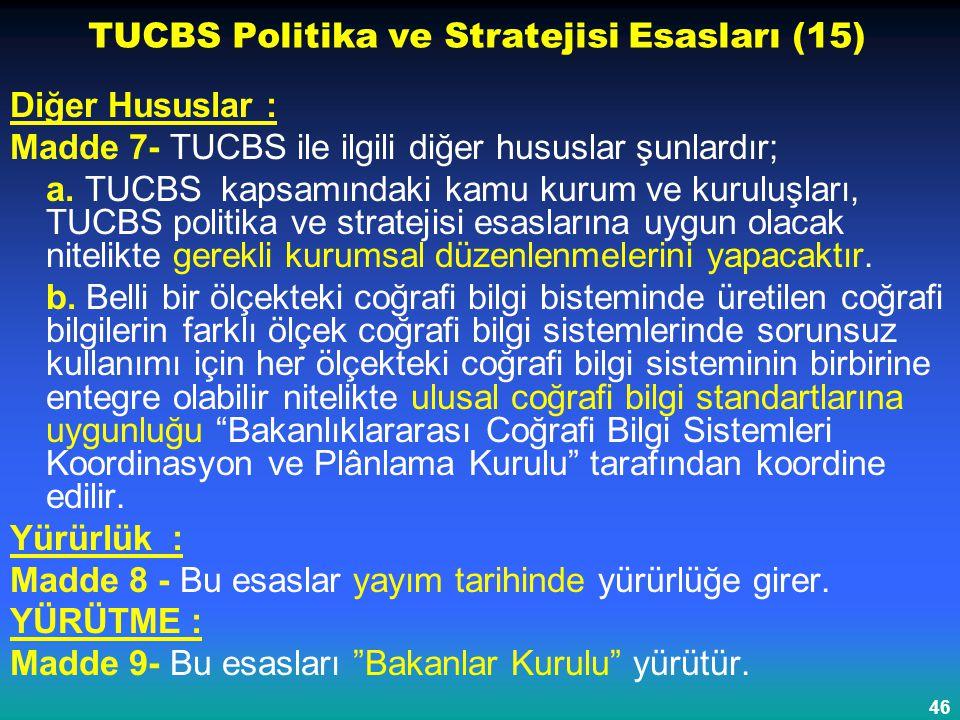 46 TUCBS Politika ve Stratejisi Esasları (15) Diğer Hususlar : Madde 7- TUCBS ile ilgili diğer hususlar şunlardır; a. TUCBS kapsamındaki kamu kurum ve