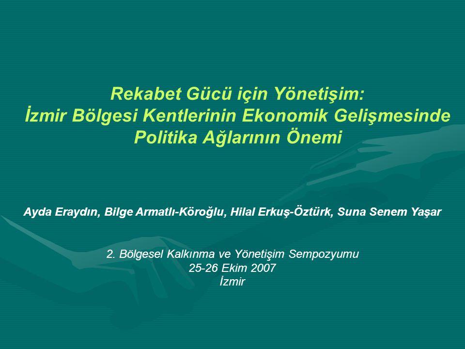 İzmir bölgesindeki yerleşimlerin ekonomik büyüme ve gelir artış seviyesinin ne derecede politika ağlarına bağlı olduğuna ilişkin istatistiki göstergeler; Kişi başına GSYİH'nin networklere göre daha belirleyici olduğunu göstermiştir.