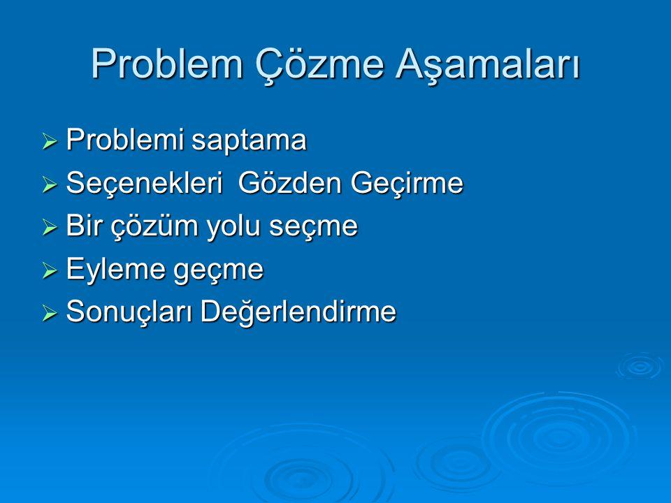 Problem Çözme Aşamaları  Problemi saptama  Seçenekleri Gözden Geçirme  Bir çözüm yolu seçme  Eyleme geçme  Sonuçları Değerlendirme