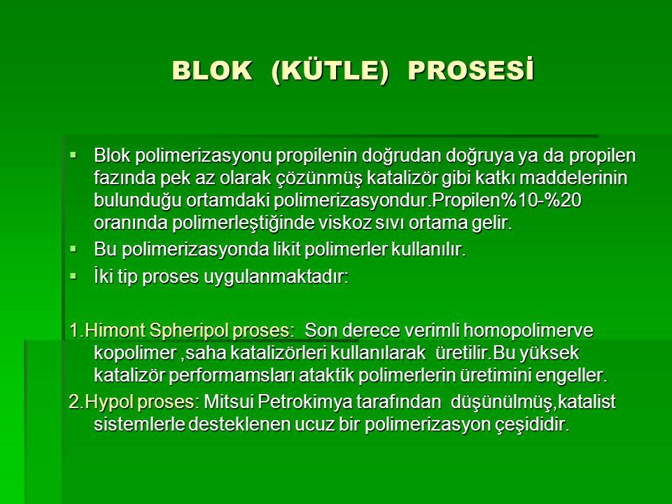 BLOK (KÜTLE) PROSESİ BLOK (KÜTLE) PROSESİ  Blok polimerizasyonu propilenin doğrudan doğruya ya da propilen fazında pek az olarak çözünmüş katalizör g