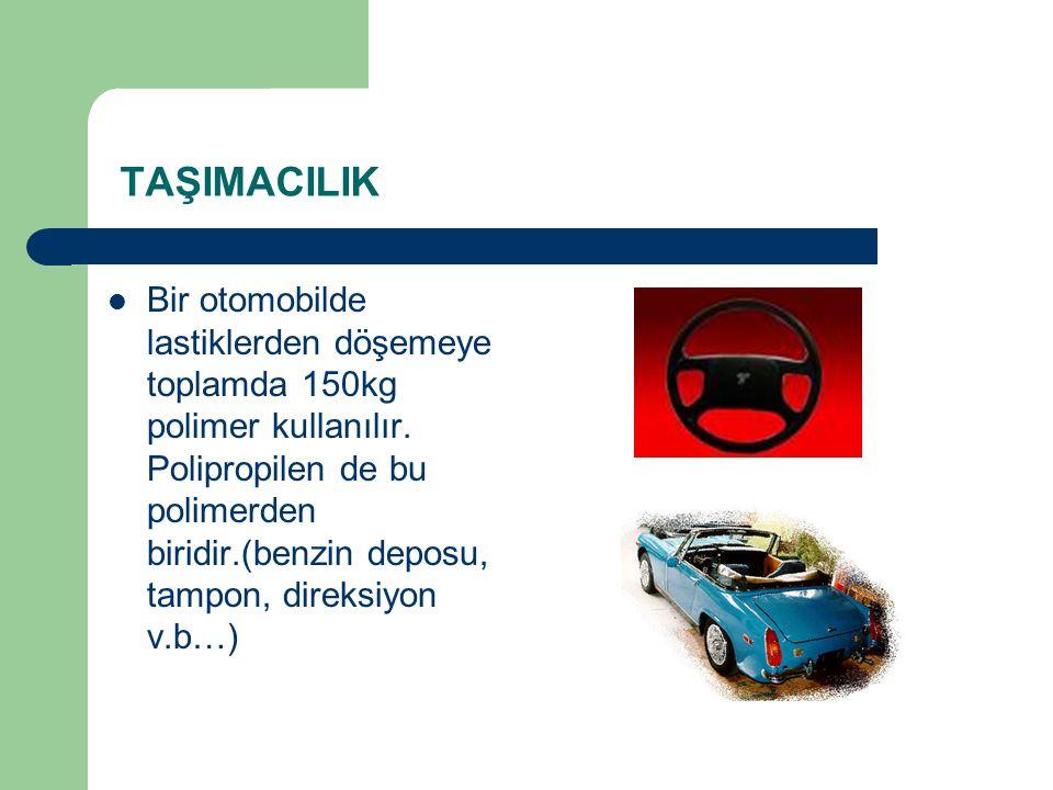 TAŞIMACILIK Bir otomobilde lastiklerden döşemeye toplamda 150kg polimer kullanılır. Polipropilen de bu polimerden biridir.(benzin deposu, tampon, dire