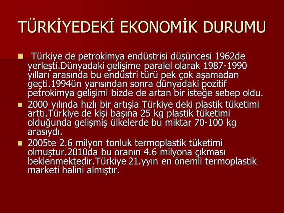 TÜRKİYEDEKİ EKONOMİK DURUMU Türkiye de petrokimya endüstrisi düşüncesi 1962de yerleşti.Dünyadaki gelişime paralel olarak 1987-1990 yılları arasında bu