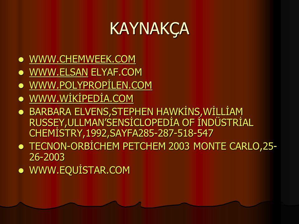 KAYNAKÇA WWW.CHEMWEEK.COM WWW.CHEMWEEK.COM WWW.CHEMWEEK.COM WWW.ELSAN ELYAF.COM WWW.ELSAN ELYAF.COM WWW.ELSAN WWW.POLYPROPİLEN.COM WWW.POLYPROPİLEN.CO