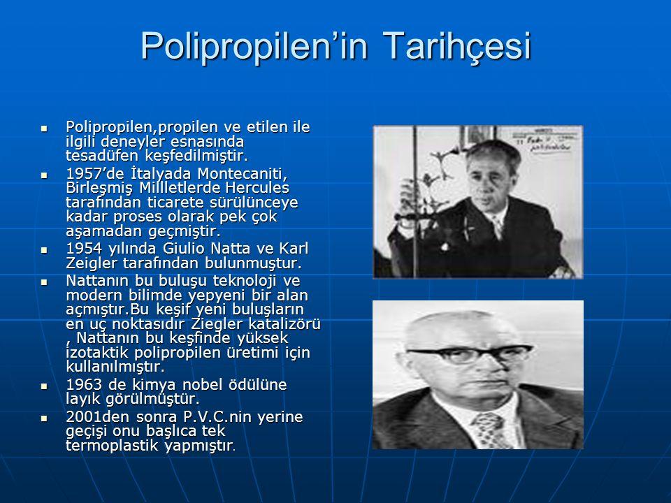 Polipropilen'in Tarihçesi Polipropilen,propilen ve etilen ile ilgili deneyler esnasında tesadüfen keşfedilmiştir. Polipropilen,propilen ve etilen ile