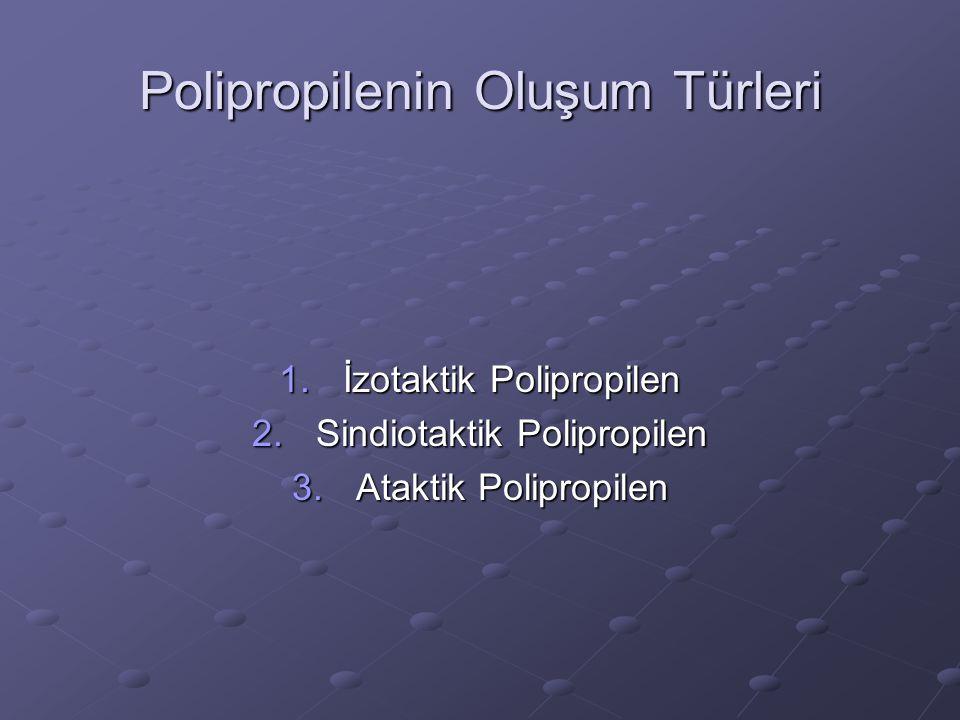 1.İzotaktik polipropilen : Tüm –CH 3 radikalleri üçboyutlu düzlemde tek tarafta sıralanır.Alt düzlemde –H radikalleri bulunur.Kristal yapıda bir polimerdir.