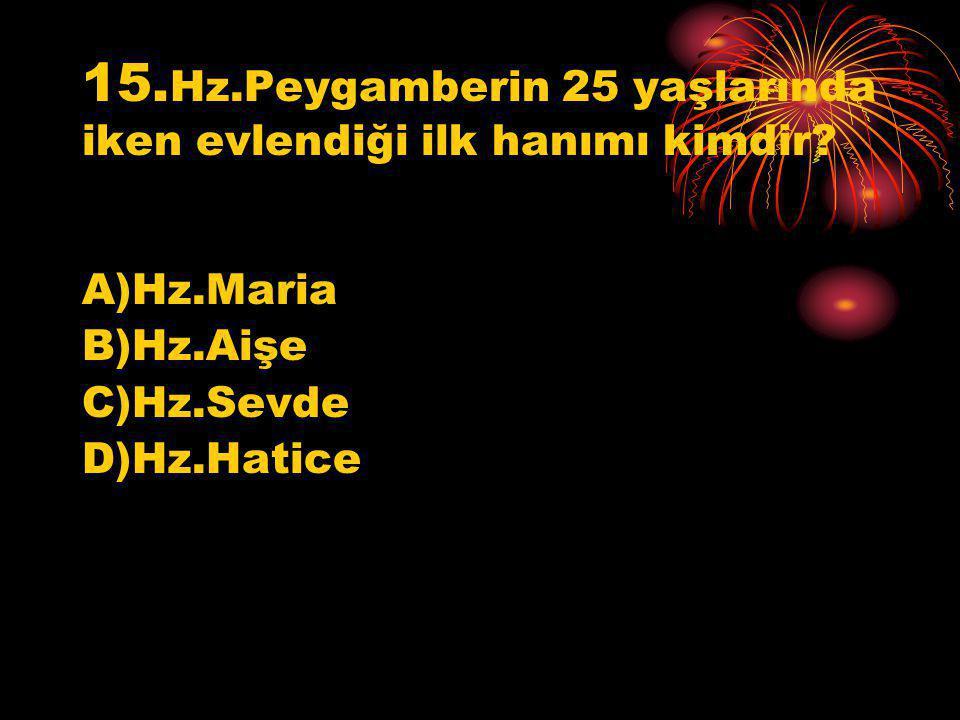 15. Hz.Peygamberin 25 yaşlarında iken evlendiği ilk hanımı kimdir? A)Hz.Maria B)Hz.Aişe C)Hz.Sevde D)Hz.Hatice
