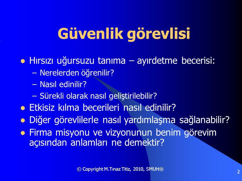 © Copyright M.Tınaz Titiz, 2010, SMUH® 2 Güvenlik görevlisi Hırsızı uğursuzu tanıma – ayırdetme becerisi: –Nerelerden öğrenilir.