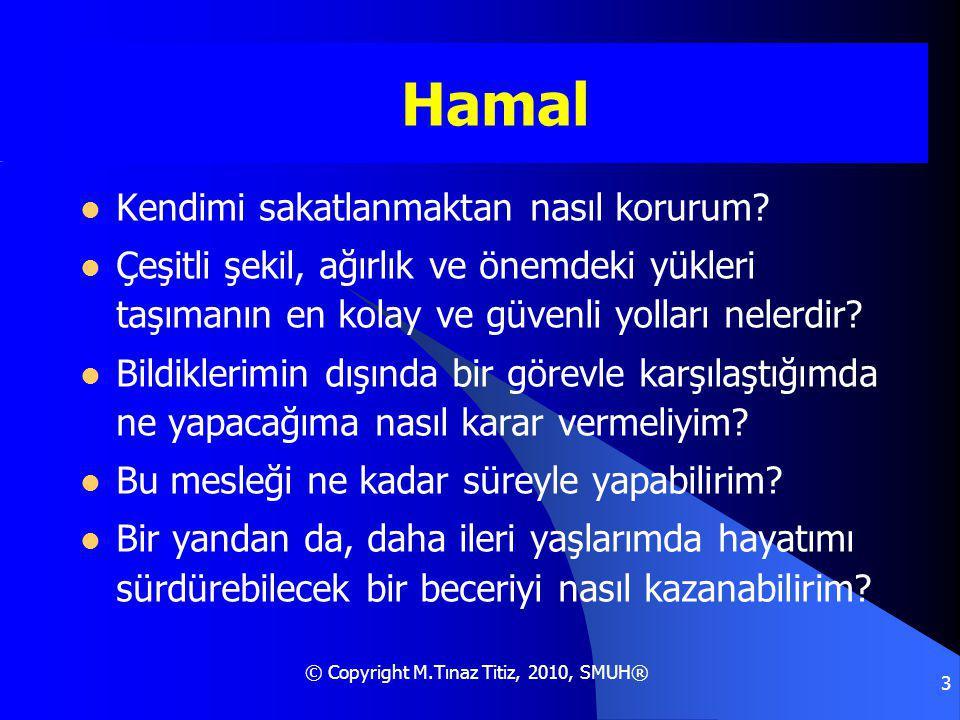 © Copyright M.Tınaz Titiz, 2010, SMUH® 3 Hamal Kendimi sakatlanmaktan nasıl korurum.