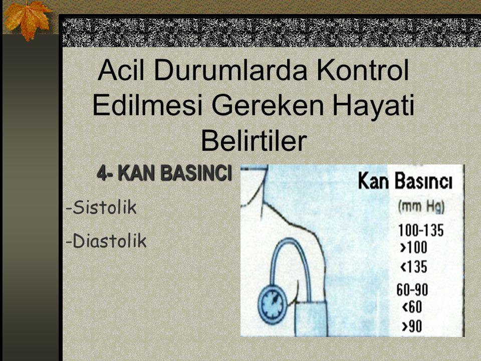 Acil Durumlarda Kontrol Edilmesi Gereken Hayati Belirtiler 4- KAN BASINCI -Sistolik -Diastolik