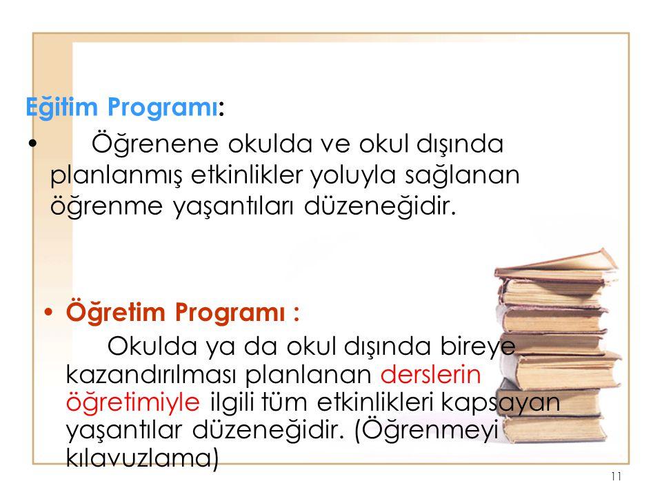 10 Eğitimde Program Hiyerarşisi Eğitim programı Öğretim programı Ders programı Günlük plan Ünite planı