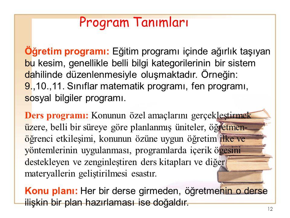 11 Öğretim Programı : Okulda ya da okul dışında bireye kazandırılması planlanan derslerin öğretimiyle ilgili tüm etkinlikleri kapsayan yaşantılar düze
