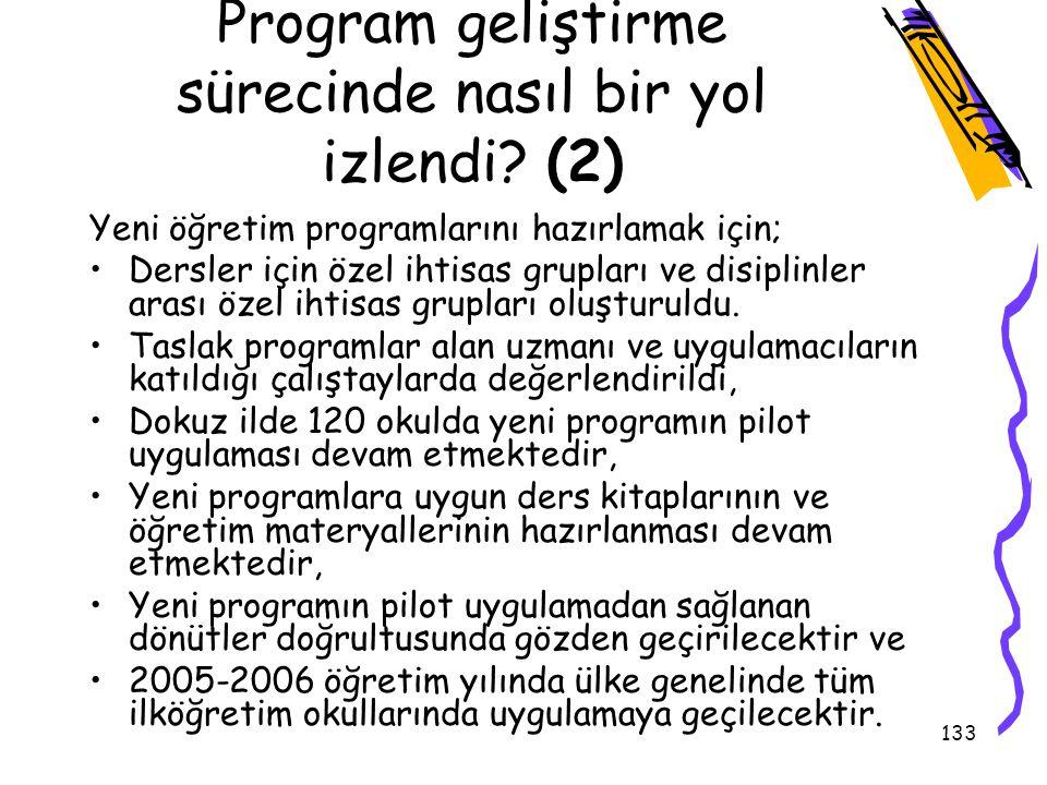 132 Eğitim programının Denenmesi ve Değerlendirme 1.Uygulamanın planlanması 2.Deneme yapılacak okulların ve sınıfların seçilmesi 3.Okul yöneticisi ve