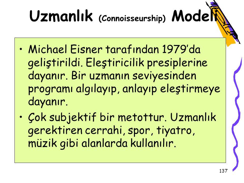 136 Uygunluk Modeli Robert Stake tarafından 1967 yılında geliştirildi. Değerlendirmenin iki yüzü var: tasvir ve karar verme. Değerlendirmede iki tür v