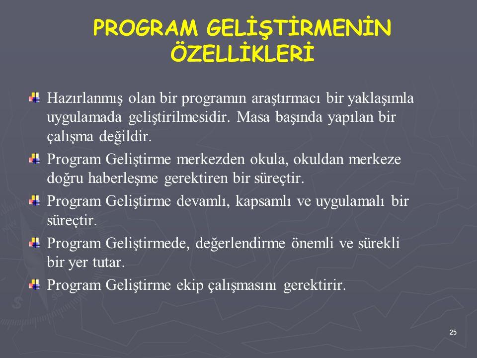 24 Program geliştirme sürecinin başlıca ilkeleri ► Uygulanmakta olan programlar,araştırma geliştirme faaliyetleri ile değerlendirilerek geliştirilir ►