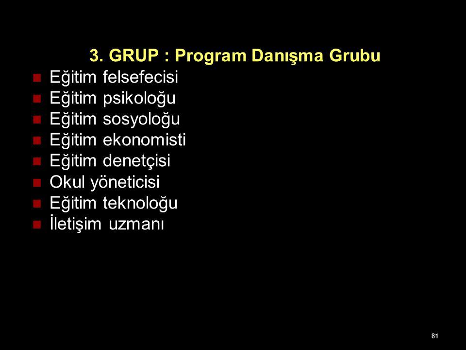 80 2.GRUP : Program çalışma grubu (tam süreli çalışma grubu) Eğitimde program geliştirme uzmanı Eğitimde ölçme ve değerlendirme uzmanı İlgili konu-ala