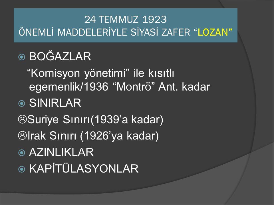 """24 TEMMUZ 1923 ÖNEMLİ MADDELERİYLE SİYASİ ZAFER """"LOZAN""""  BOĞAZLAR """"Komisyon yönetimi"""" ile kısıtlı egemenlik/1936 """"Montrö"""" Ant. kadar  SINIRLAR  Sur"""