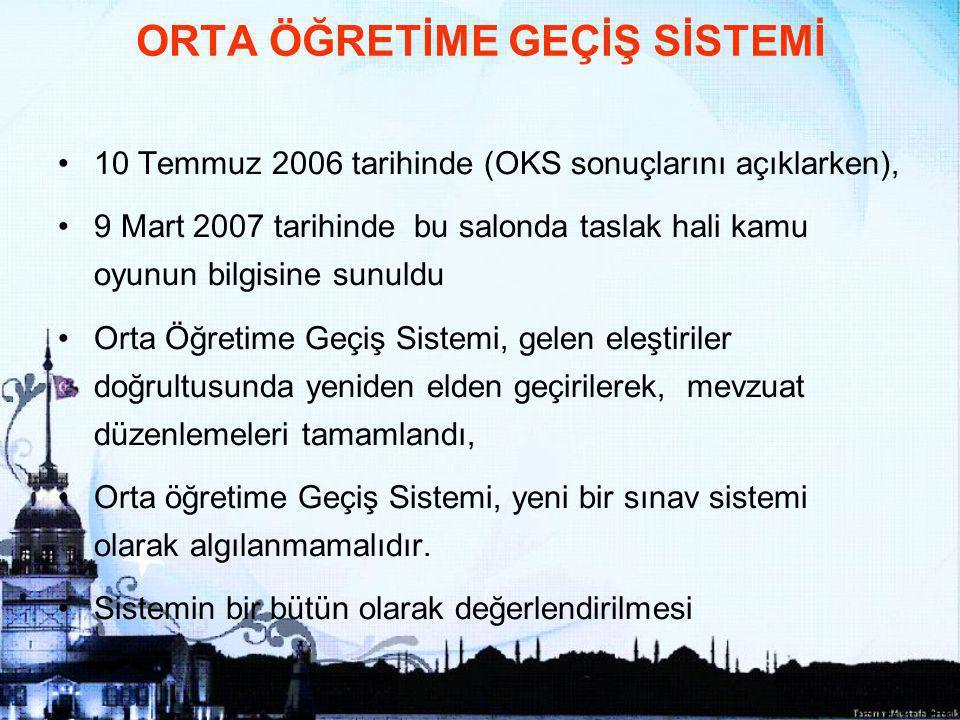 2 10 Temmuz 2006 tarihinde (OKS sonuçlarını açıklarken), 9 Mart 2007 tarihinde bu salonda taslak hali kamu oyunun bilgisine sunuldu Orta Öğretime Geçiş Sistemi, gelen eleştiriler doğrultusunda yeniden elden geçirilerek, mevzuat düzenlemeleri tamamlandı, Orta öğretime Geçiş Sistemi, yeni bir sınav sistemi olarak algılanmamalıdır.