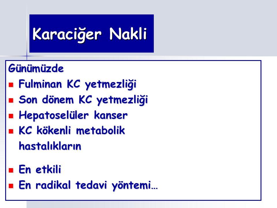 Karaciğer Nakli Günümüzde Fulminan KC yetmezliği Fulminan KC yetmezliği Son dönem KC yetmezliği Son dönem KC yetmezliği Hepatoselüler kanser Hepatosel
