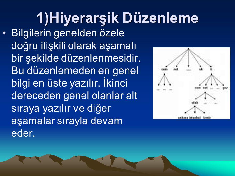 1)Hiyerarşik Düzenleme Bilgilerin genelden özele doğru ilişkili olarak aşamalı bir şekilde düzenlenmesidir. Bu düzenlemeden en genel bilgi en üste yaz