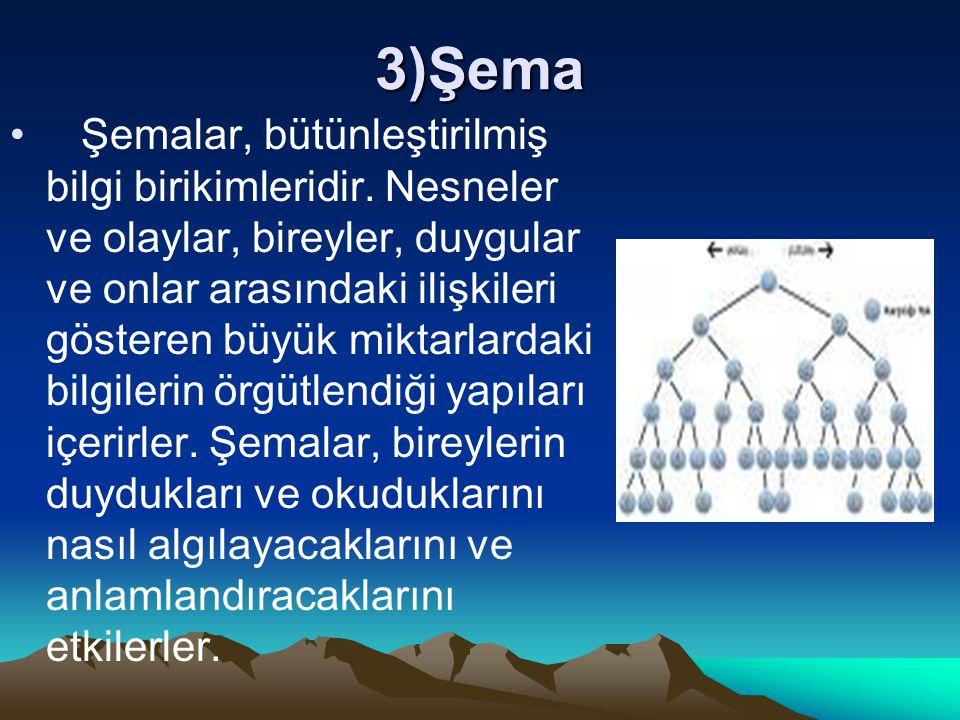 3)Şema Şemalar, bütünleştirilmiş bilgi birikimleridir. Nesneler ve olaylar, bireyler, duygular ve onlar arasındaki ilişkileri gösteren büyük miktarlar
