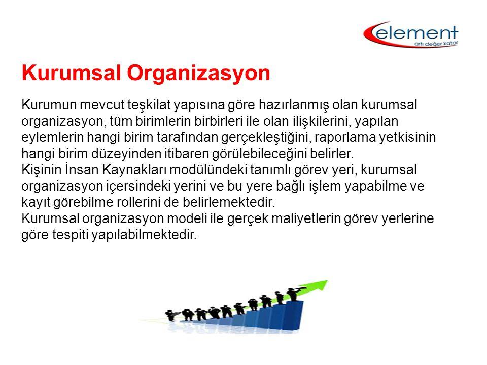 Kurumsal Organizasyon Kurumun mevcut teşkilat yapısına göre hazırlanmış olan kurumsal organizasyon, tüm birimlerin birbirleri ile olan ilişkilerini, y