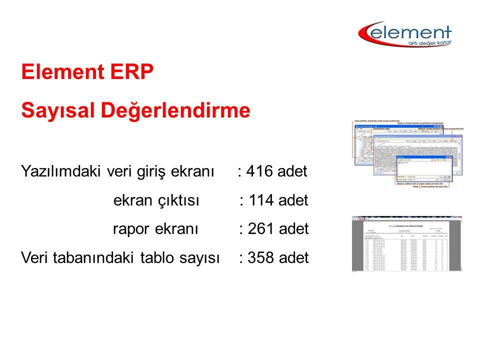 Element ERP Sayısal Değerlendirme Yazılımdaki veri giriş ekranı : 416 adet ekran çıktısı : 114 adet rapor ekranı : 261 adet Veri tabanındaki tablo say