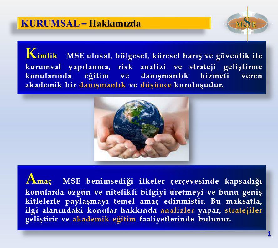 KURUMSAL – Hakkımızda K imlikMSE ulusal, bölgesel, küresel barış ve güvenlik ile kurumsal yapılanma, risk analizi ve strateji geliştirme konularında eğitim ve danışmanlık hizmeti veren akademik bir danışmanlık ve düşünce kuruluşudur.