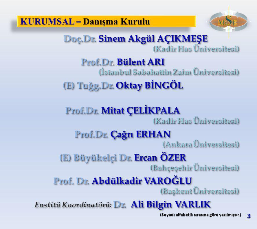 KURUMSAL – Danışma Kurulu Doç.Dr. Sinem Akgül AÇIKMEŞE Doç.Dr.
