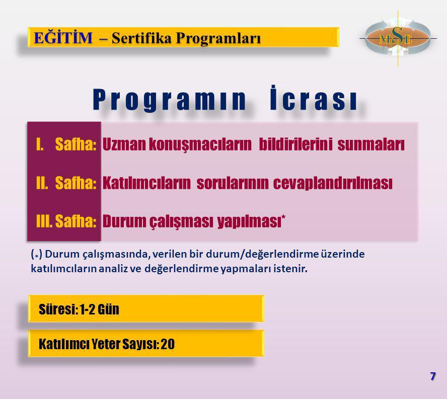 EĞİTİM – Sertifika Programları Listesi 1.Millî Güvenlik Sertifika Programı 2.Stratejik Planlama Sertifika Programı 3.Kriz Yönetimi Sertifika Programı 4.Uluslararası İlişkiler Kuramları Sertifika Programı 5.Jeopolitik Kuramlar Sertifika Programı 6.Küreselleşme Sertifika Programı 7.Askerî ve Güvenlik Terminolojisi Sertifika Programı 8.Stratejinin Temel Eserleri Sertifika Programı 9.Birleşmiş Milletler Sertifika Programı 10.NATO Sertifika Programı 11.Avrupa Birliği Sertifika Programı 12.Uluslararası Kuruluşlar Sertifika Programı 13.Küresel Tehdit Değerlendirmesi (Çoklu Gelecek) Sertifika Programı 8