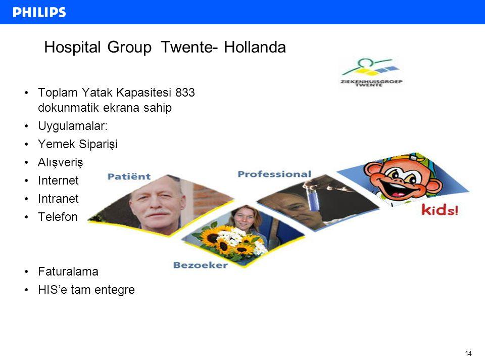 14 Hospital Group Twente- Hollanda Toplam Yatak Kapasitesi 833 dokunmatik ekrana sahip Uygulamalar: Yemek Siparişi Alışveriş Internet Intranet Telefon