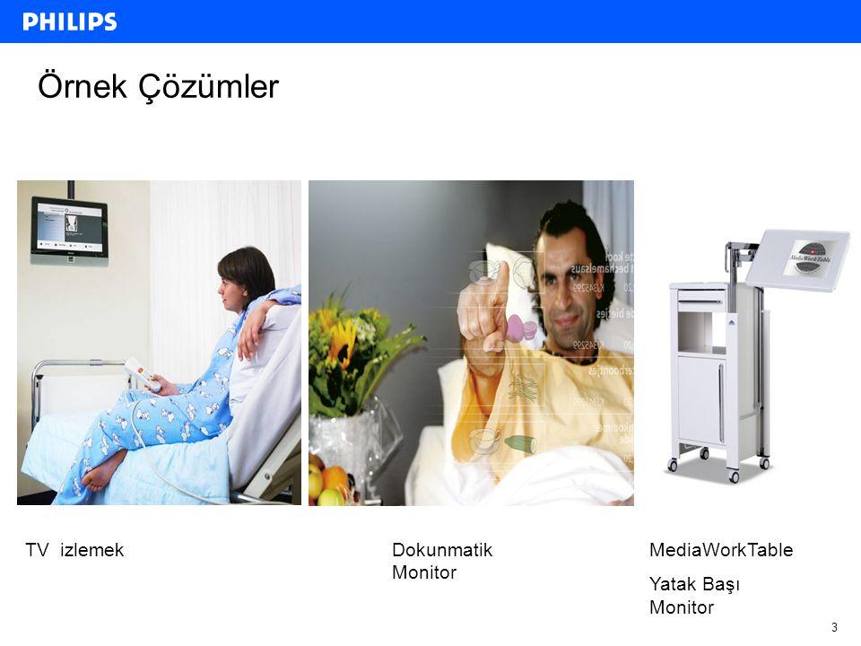 3 Örnek Çözümler TV izlemekDokunmatik Monitor MediaWorkTable Yatak Başı Monitor