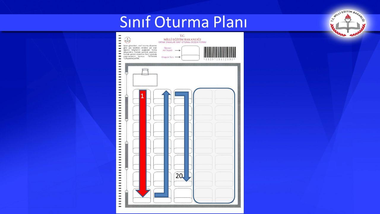Sınıf Oturma Planı sınıfın şekline göre düzenlenecektir.