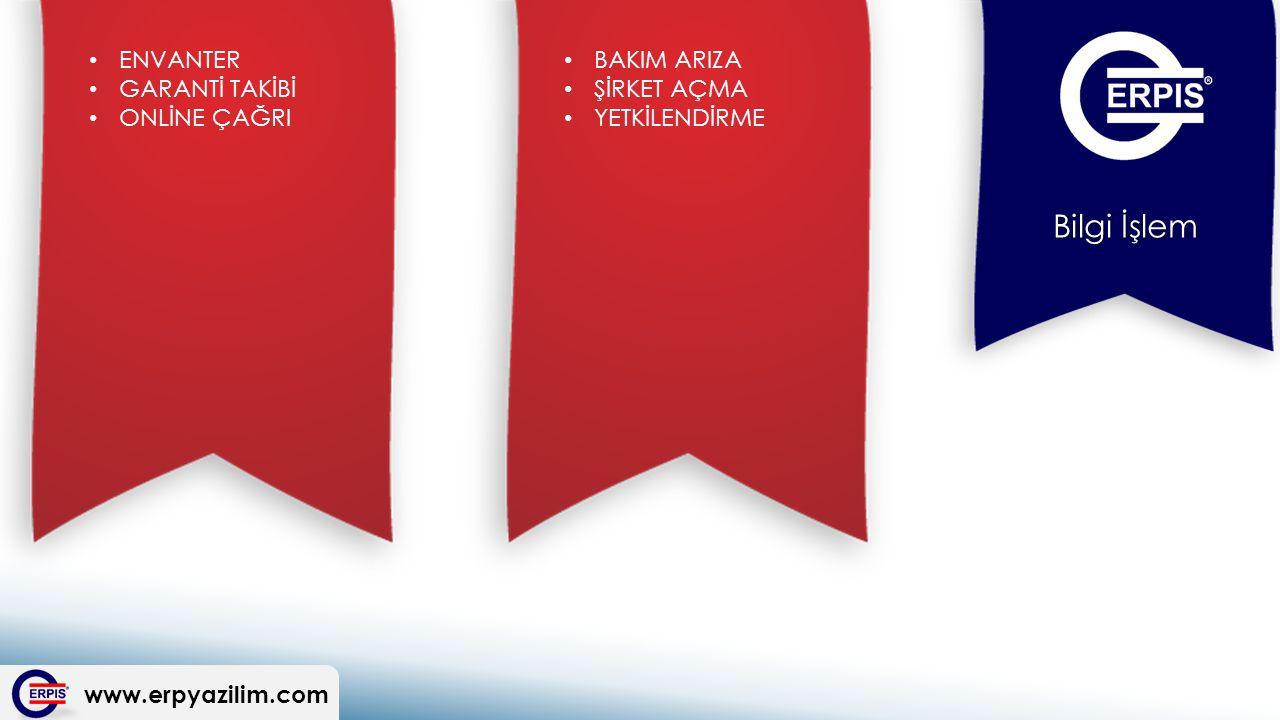 www.erpyazilim.com Bilgi İşlem BAKIM ARIZA ŞİRKET AÇMA YETKİLENDİRME ENVANTER GARANTİ TAKİBİ ONLİNE ÇAĞRI