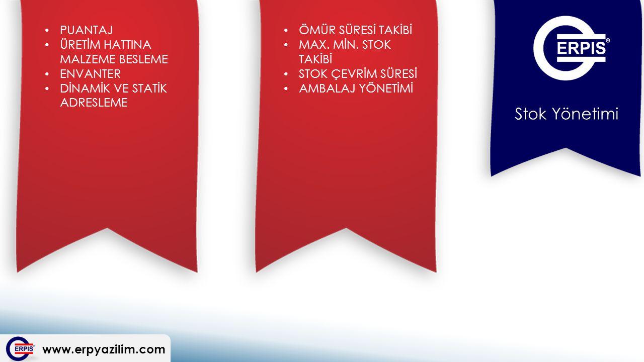 www.erpyazilim.com Stok Yönetimi ÖMÜR SÜRESİ TAKİBİ MAX.