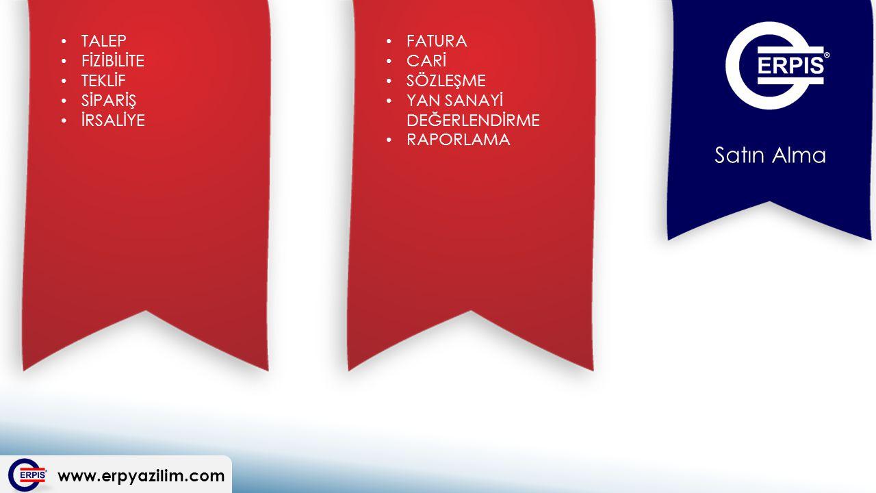 www.erpyazilim.com Satın Alma FATURA CARİ SÖZLEŞME YAN SANAYİ DEĞERLENDİRME RAPORLAMA TALEP FİZİBİLİTE TEKLİF SİPARİŞ İRSALİYE