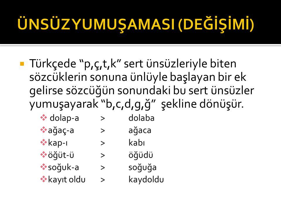 """ Türkçede """"p,ç,t,k"""" sert ünsüzleriyle biten sözcüklerin sonuna ünlüyle başlayan bir ek gelirse sözcüğün sonundaki bu sert ünsüzler yumuşayarak """"b,c,d"""
