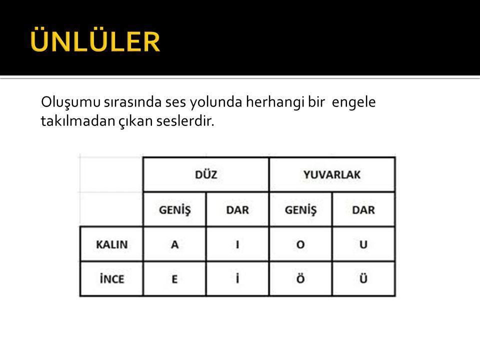 Türkçe bir kelimenin ilk hecesinde ince ünlü varsa daha sonraki hecelerde de ince; kalın bir ünlü varsa diğer hecelerde de kalın ünlü bulunur.