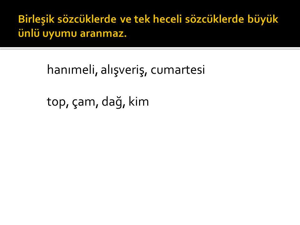  Türkçe sözcüklerde düz ünlülerden (a,e,ı,i) sonra sonraki hecede de düz ünlü (a,e,ı,i) bulunur.