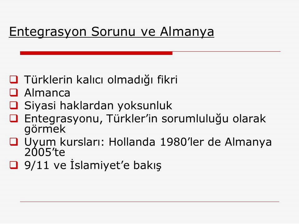 Entegrasyon Sorunu ve Almanya  Türklerin kalıcı olmadığı fikri  Almanca  Siyasi haklardan yoksunluk  Entegrasyonu, Türkler'in sorumluluğu olarak görmek  Uyum kursları: Hollanda 1980'ler de Almanya 2005'te  9/11 ve İslamiyet'e bakış
