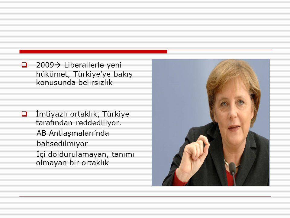  2009  Liberallerle yeni hükümet, Türkiye'ye bakış konusunda belirsizlik  İmtiyazlı ortaklık, Türkiye tarafından reddediliyor.