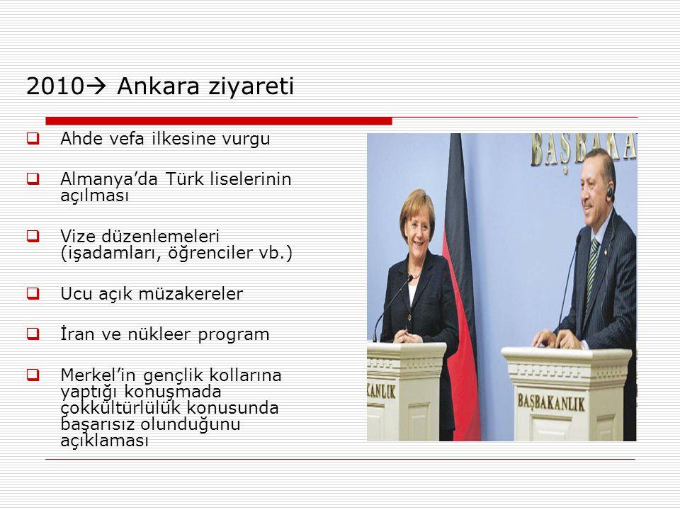 2010  Ankara ziyareti  Ahde vefa ilkesine vurgu  Almanya'da Türk liselerinin açılması  Vize düzenlemeleri (işadamları, öğrenciler vb.)  Ucu açık